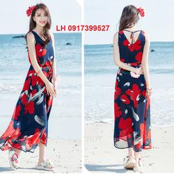 đầm maxi  đi biển vintage mùa hè váy maxi đi biển L12MX03