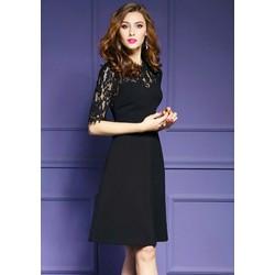 Đầm vintage đen phối đô ren