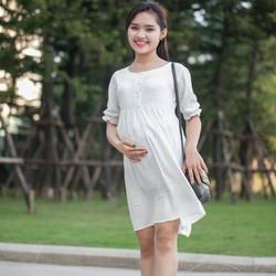Đầm bầu trắng chấm bi tay chun