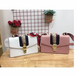 Túi xách T108 Hàn Quốc hai dây riêng biệt, nơ cách điệu, da sang trọng