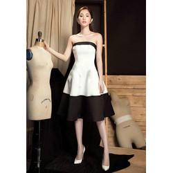 Đầm xòe cúp trắng đen