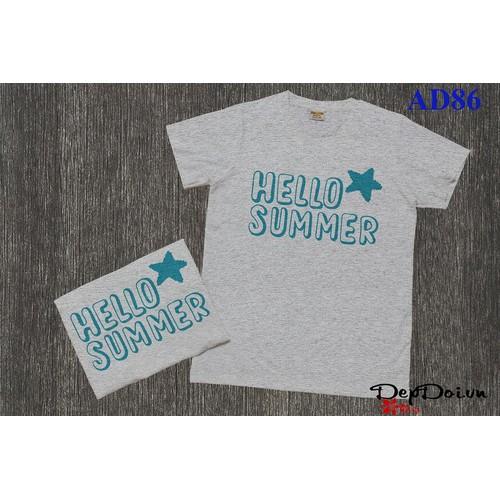 Áo thun đôi form rộng Hello Summer AD86 - Nhiều màu