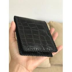 Ví nam da bò dập vân cá sấu handmade Bifold Wallet màu đen