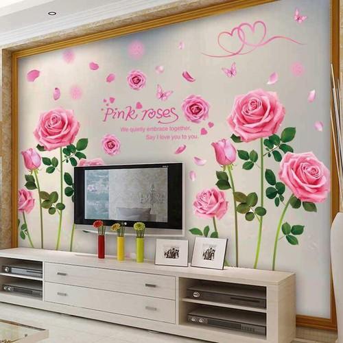 decal dán tường combo hoa hồng