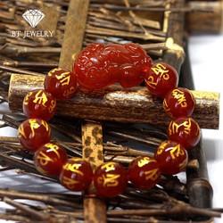 Vòng Tay Tỳ Hưu Đỏ Khắc Kinh Phật 16mm Thương Hiệu BT JEWELRY