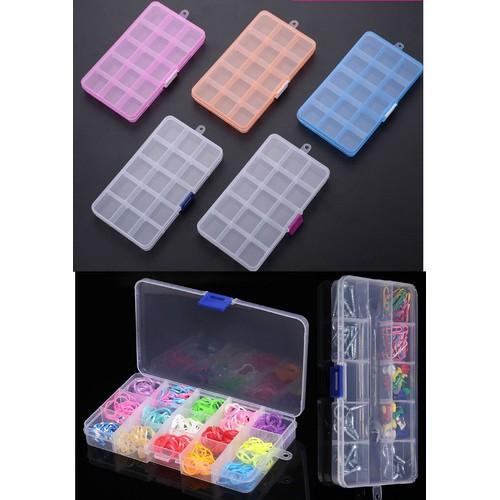 Bộ 5 hộp đựng đồ đa năng 15 ô size 17.6 x 10.2 x 2.3cm