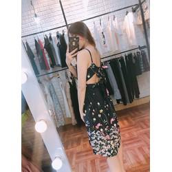 Váy hoa chất lụa đẹp hàng QC kèm ảnh mẫu shop chụp