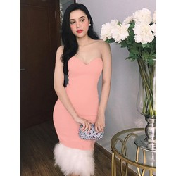 Đầm ôm body kiểu cúp ngực lai lông trắng