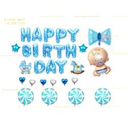 Set viên kẹo xanh bong bóng kiếng sinh nhật Foil Balloon little man