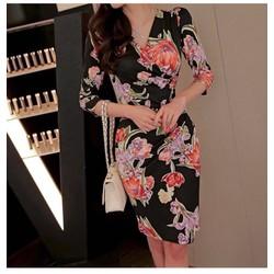 Đầm ôm thun body hoa cam DON2101 - Hàng nhập loại 1
