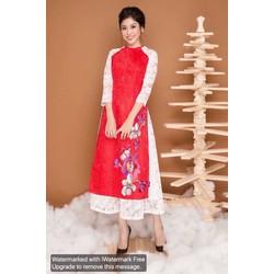 Set Áo Dài Kèm Chân Váy Thêu Hoa Phối Ren Siêu Hot Màu Đỏ