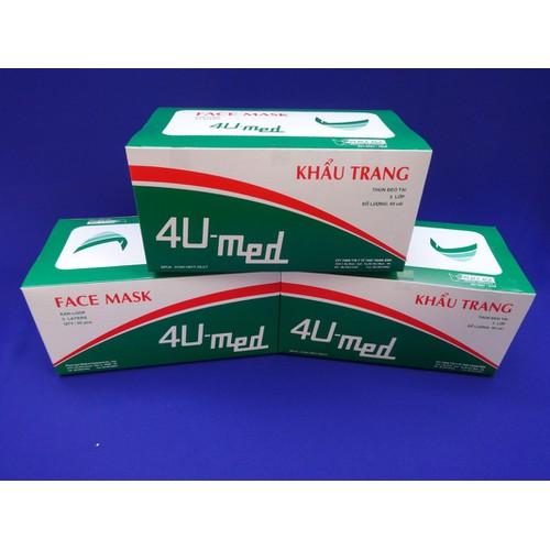Bộ 3 hộp khẩu trang y tế 4U Med 50 cái x 3