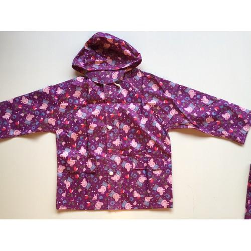 Áo mưa bộ hình Heo Con - màu tím cho bé - SIZE XL