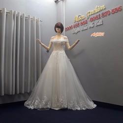 Áo cưới trễ vai, váy cưới màu trắng kết pha lê AC831