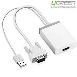 Cáp chuyển đổi VGA to HDMI + Audio 40235 màu trắng chính hãng Ugreen