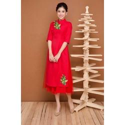 Set Áo Dài Kèm Chân Váy Thêu Hoa Cách Điệu Màu Đỏ
