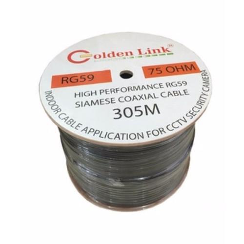Cáp camera GoldenLink RG59+2C 300M - có nguồn điện