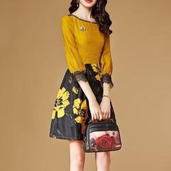 Đầm xoè xô lụa chân váy gấm hoa DX2980 - Hàng nhập loại 1