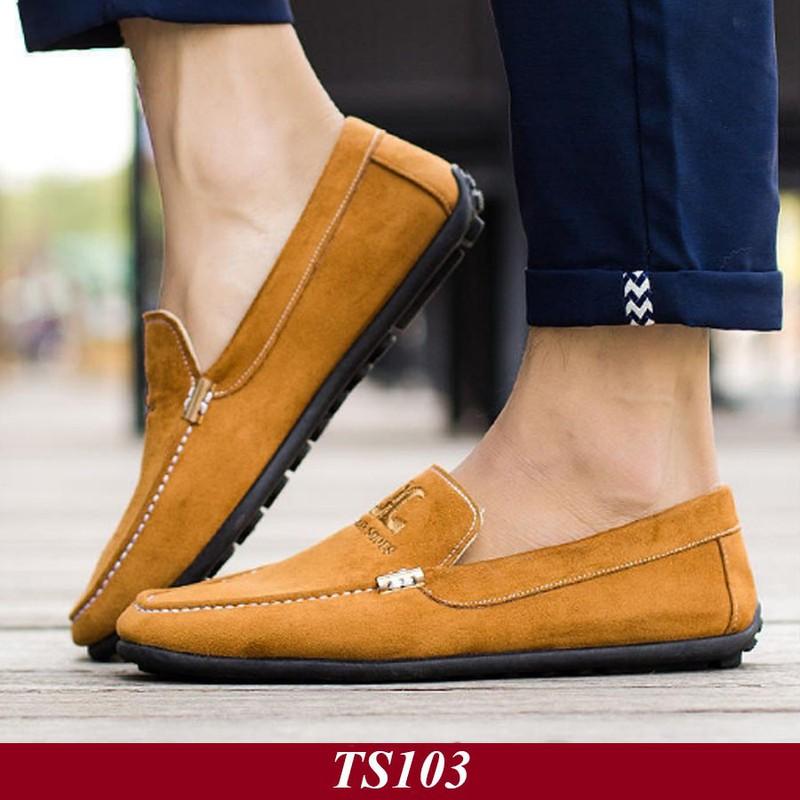 TS103 - Giày Lười Nam Hàn Quốc Màu Nâu Vàng 7