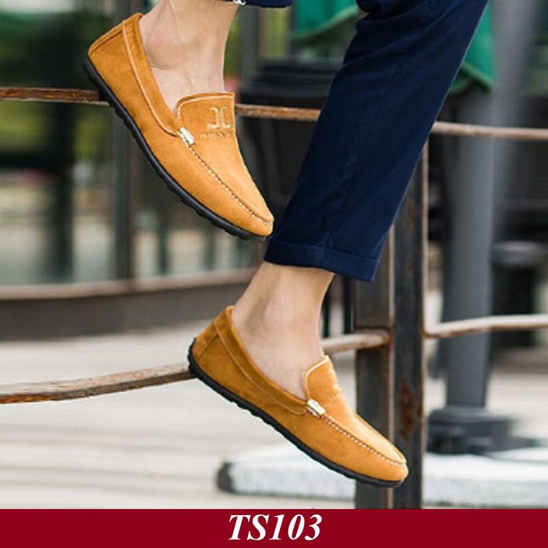 TS103 - Giày Lười Nam Hàn Quốc Màu Nâu Vàng 4