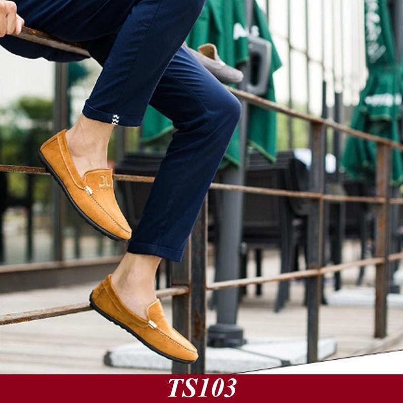 TS103 - Giày Lười Nam Hàn Quốc Màu Nâu Vàng 8
