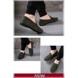 Giày Lười Nam Hàn Quốc Da Lộn Màu Xanh Rêu