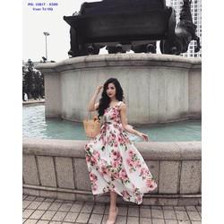 Đầm Maxi Hoa Hồng 2 Dây Dễ Thương