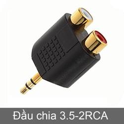 jack chuyển 3.5mm ra2 đầu AV cho Điện thoại, Máy tính,Laptop ra Loa,