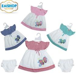 Set 4 Đầm Kate cho bé gái từ 4-12kg phối sọc kèm quần chip - 4 màu