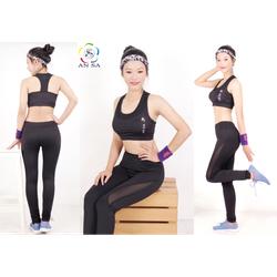 Quần legging thể thao nữ dài cao cấp phối lưới-QD3