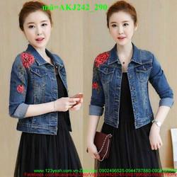 Áo khoác jean nữ hoa hồng đáng iu xinh xắn AKJ242