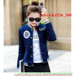 Áo khoác jean nữ cổ bo thun xinh xắn đáng iu AKJ226