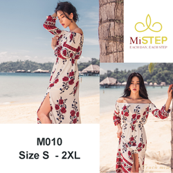 Váy maxi trễ vai đi biển M010