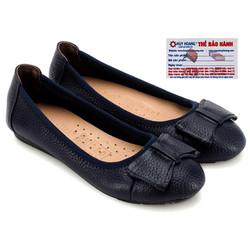 Giày nữ búp bê da bò màu xanh đen HS7908