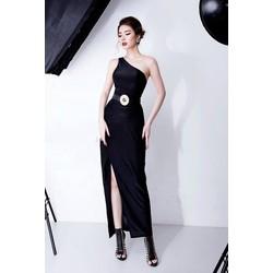 Đầm dài đen lệch vai xẻ tà thiết kế ôm body