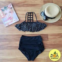 Bikini áo bèo xòe chấm bi quần cạp cao