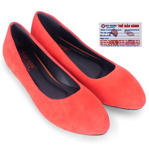 Giày nữ đế bệt Huy Hoàng da lộn màu đỏ HS7923