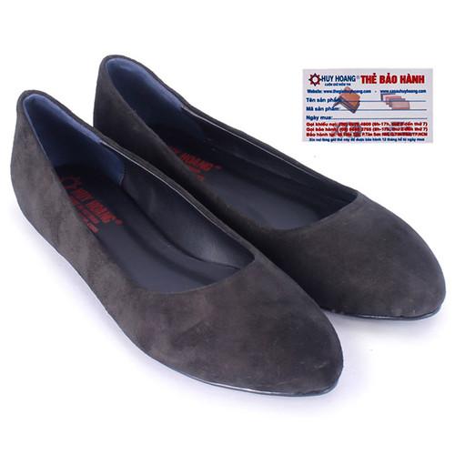 Giày nữ đế bệt Huy Hoàng da lộn màu đen HS7921
