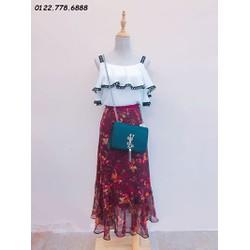 set áo 2 dây + chân váy