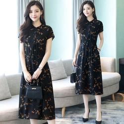 Đầm suông họa tiết ngắn tay 4D1311