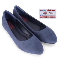 Giày nữ đế bệt da lộn màu xanh đen HS7924