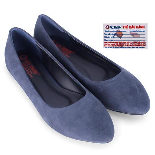 Giày nữ đế bệt Huy Hoàng da lộn màu xanh đen HS7924