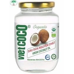 Dầu dừa nguyên chất Vietcoco keo thủy tinh 450ml - Organic