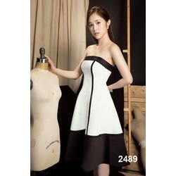 Đầm xoè cúp ngực trắng đen