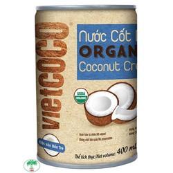 Nước cốt dừa Organic Vietcoco lon 400ml độ béo 22