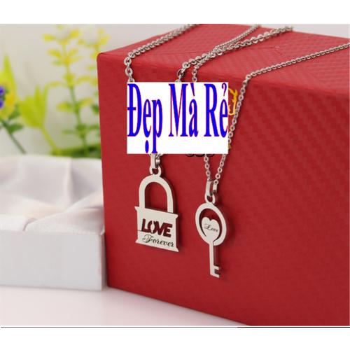 Dây chuyền cặp đôi inox Đẹp Mà Rẻ hình ổ khóa và chìa khóa