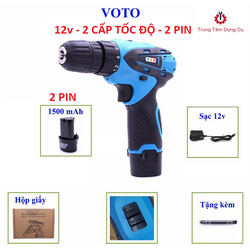 Máy khoan vặn vít VOTO 12 volt 2 pin