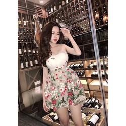 Đầm xòe Ren cúp ngực hoa nổi