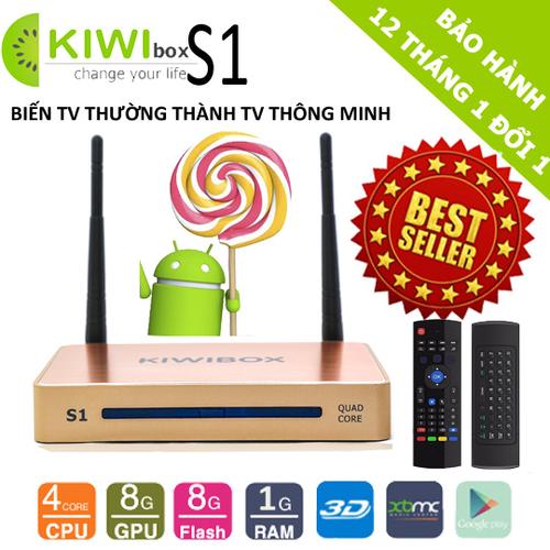 Android Tivi KiwiBox S1 Ultra HD kèm Chuột Bay Kiêm Điều Khiển KM800