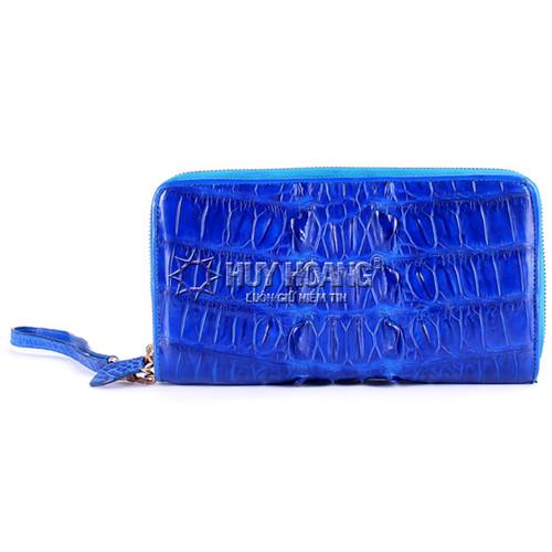 Bóp da cá sấu Huy Hoàng  nhiều ngăn gai màu xanh dương SH1823